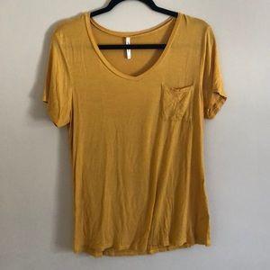 Mustard V-neck Pocket T-shirt